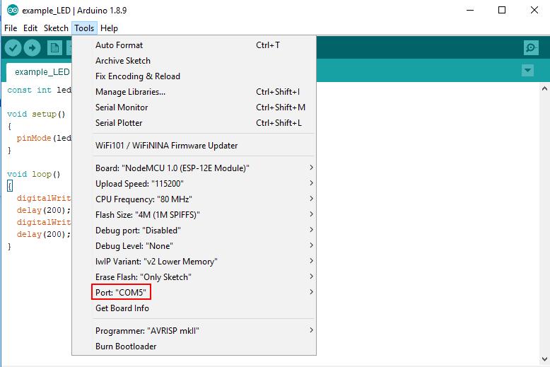 Arduino IDE NodeMCU Board Settings