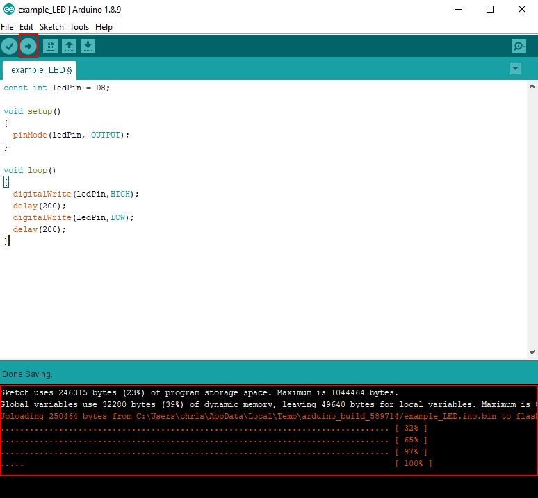Arduino IDE run LED example