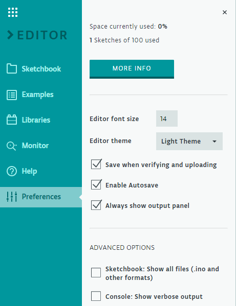 Arduino Web Editor Preferences