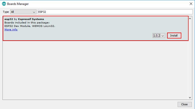 Arduino IDE Board Manager ESP32