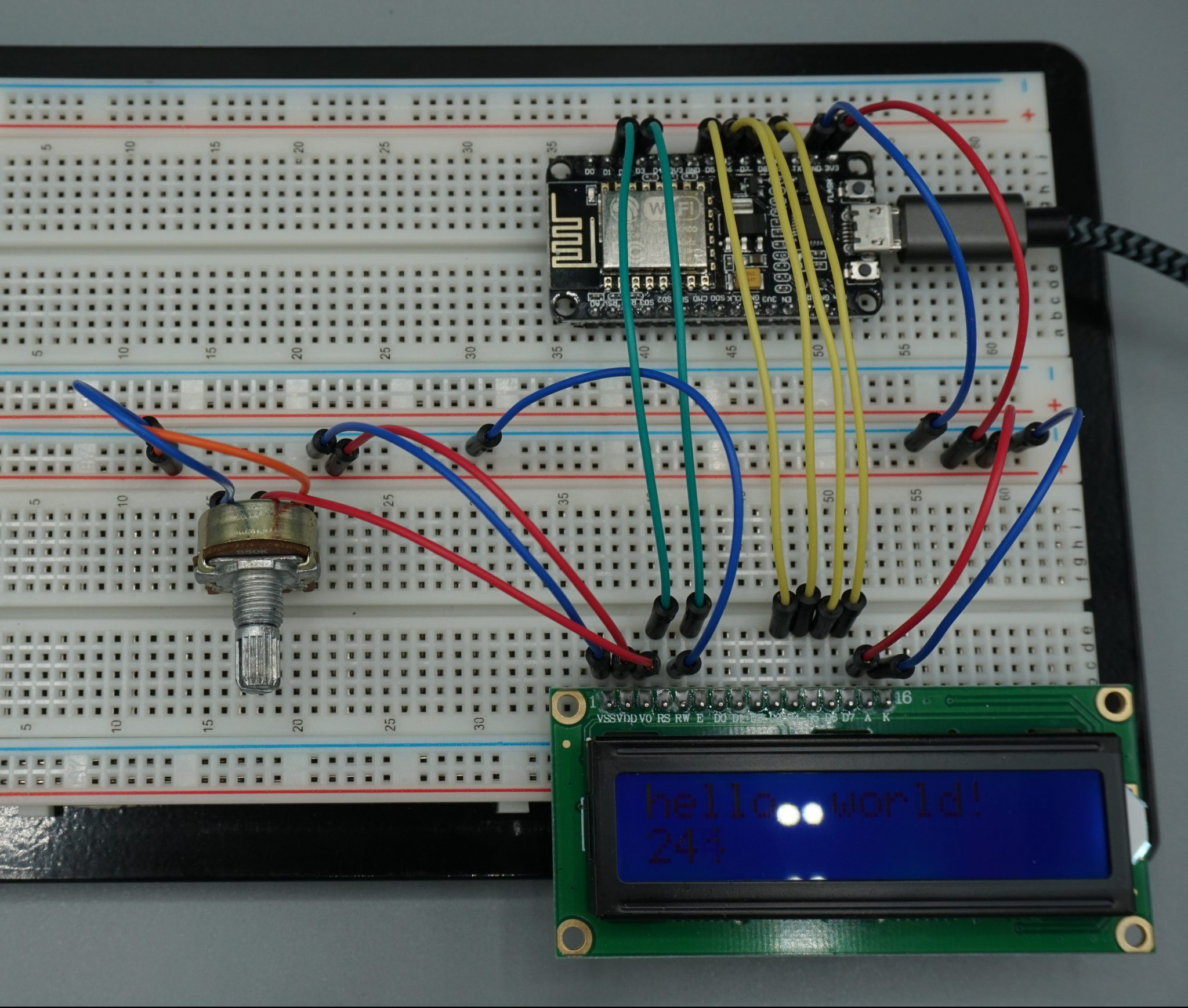 LCD example NodeMCU without I2C