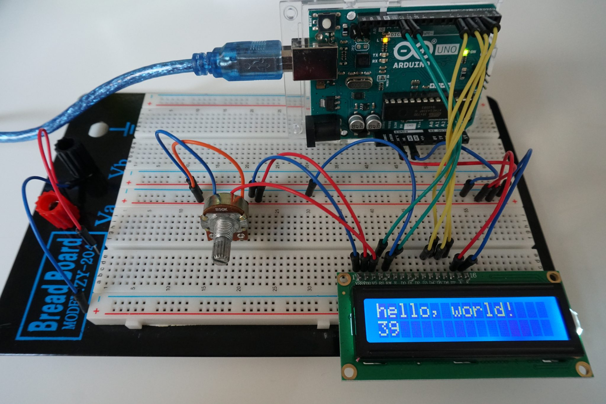 LCD example Arduino Uno without I2C