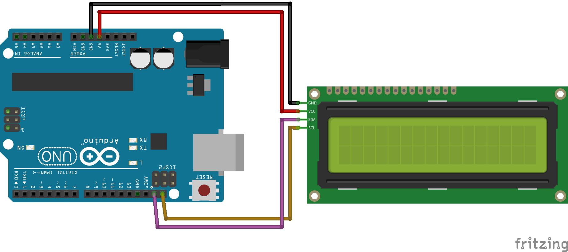 I2C Fritzing Arduino Uno