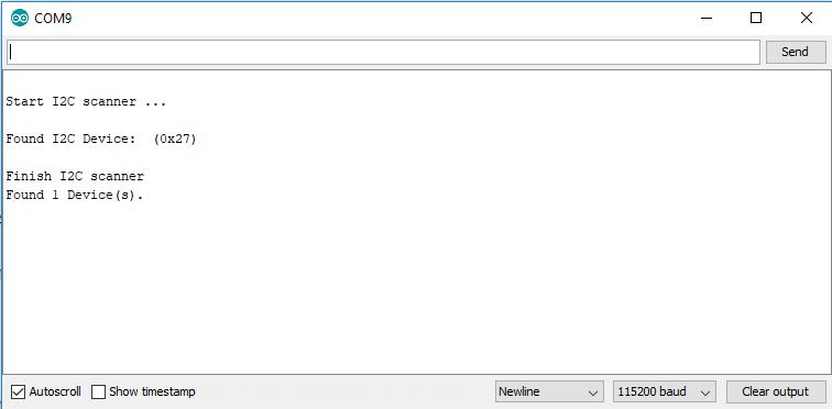 I2C Scanner Serial Output