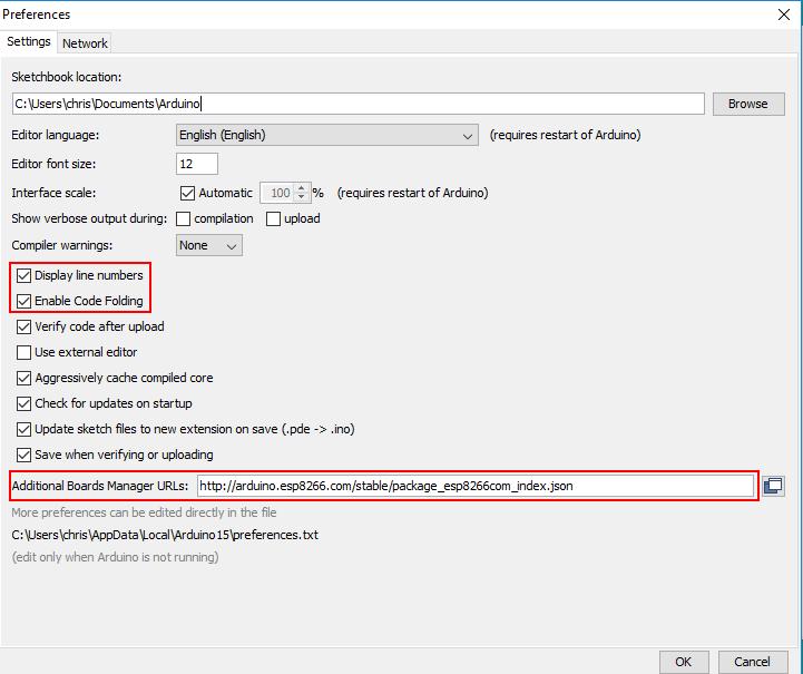 Arduino Desktop IDE Preferences