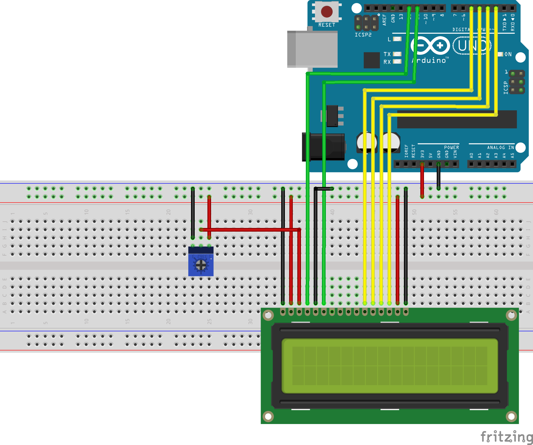LCD Arduino without I2C