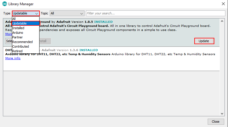 Arduino IDE library update