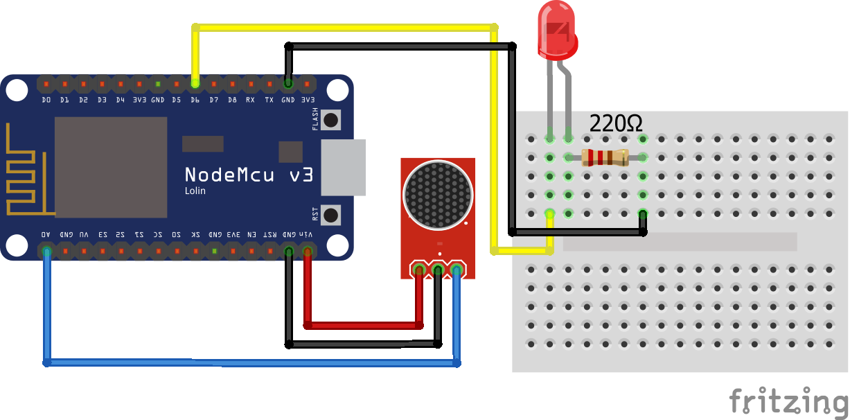 Sound Sensor Analog Input NodeMCU Steckplatine