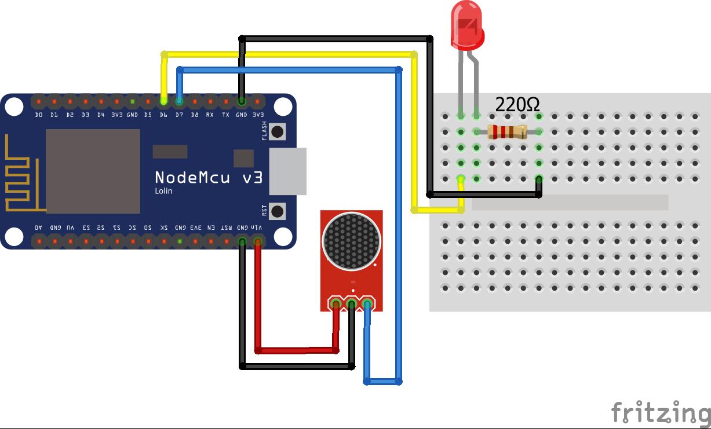 Sound Sensor Digital Input NodeMCU Steckplatine
