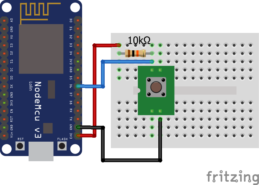 Wiring Pull Up Resistor ESP8266 NodeMCU