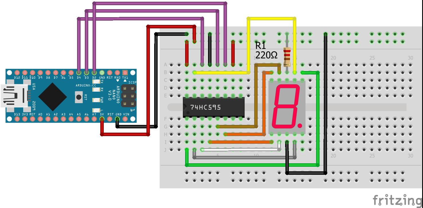 7 Segment LED Display Shift Register Arduino Nano