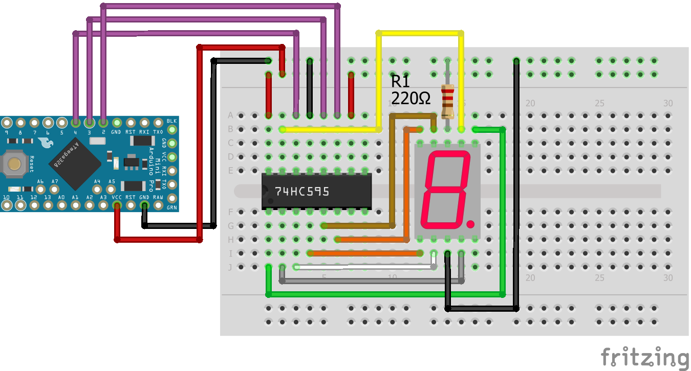 7 Segment LED Display Shift Register Arduino Pro Mini