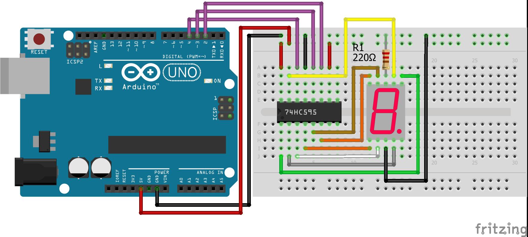 7 Segment LED Display Shift Register Arduino Uno