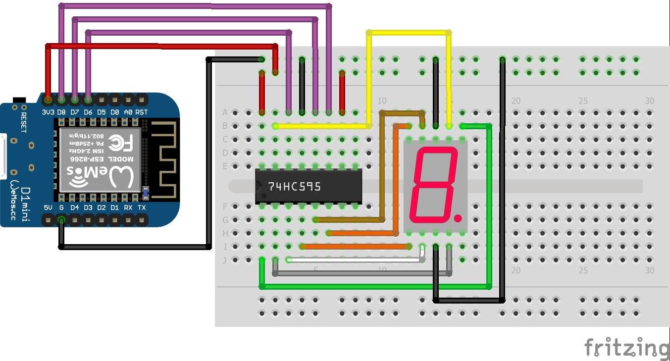 7 Segment LED Display Shift Register ESP8266 WeMos D1 Mini