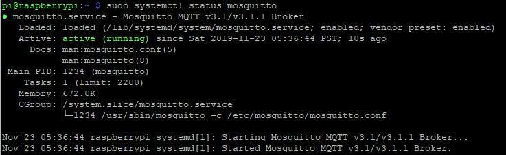 Raspberry Pi Mosquitto Status