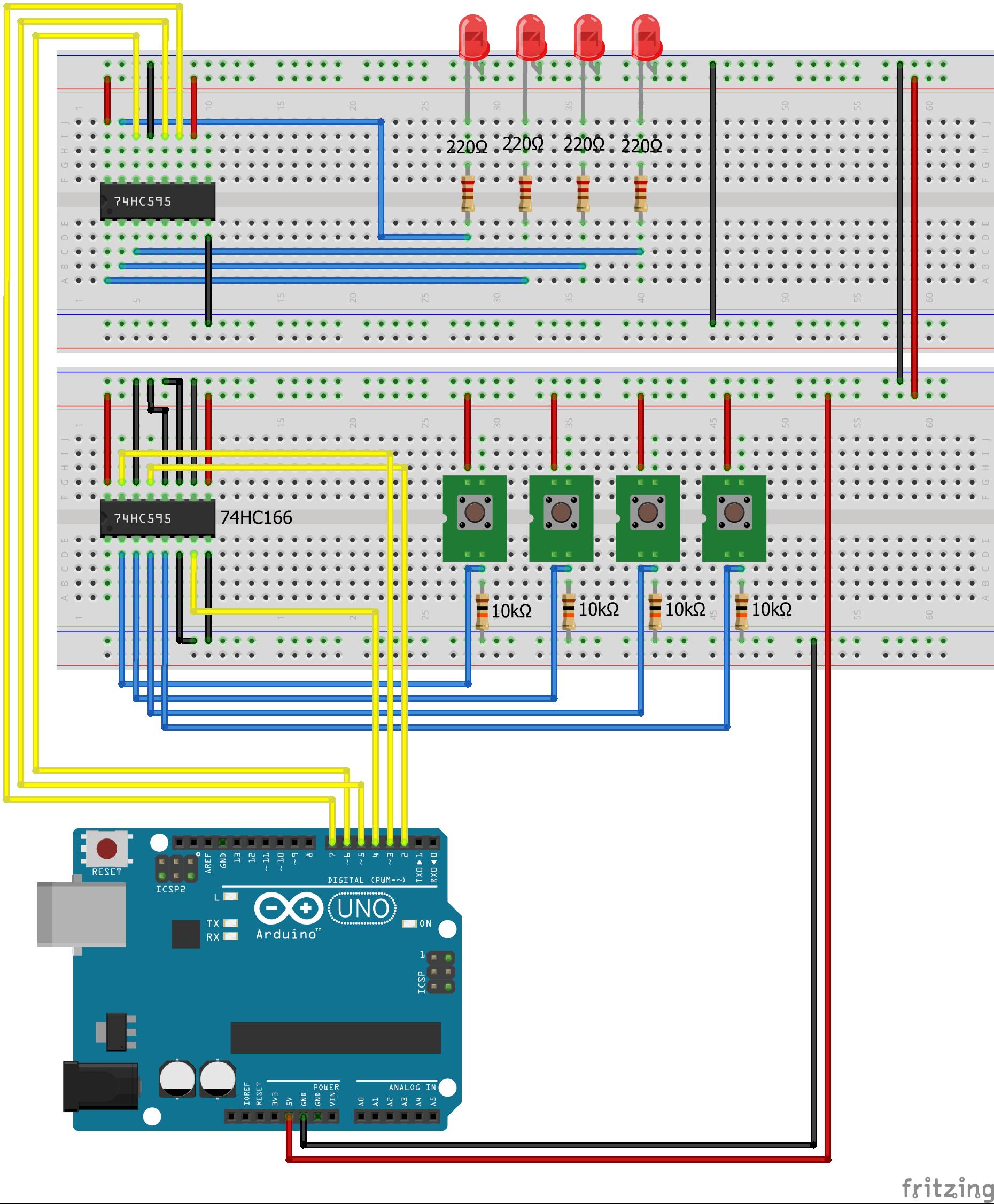 Arduino Shift Register SIPO PISO Pull Down
