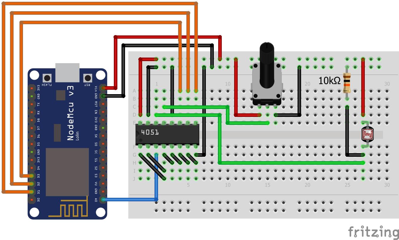 NodeMCU Analog Multiplexer