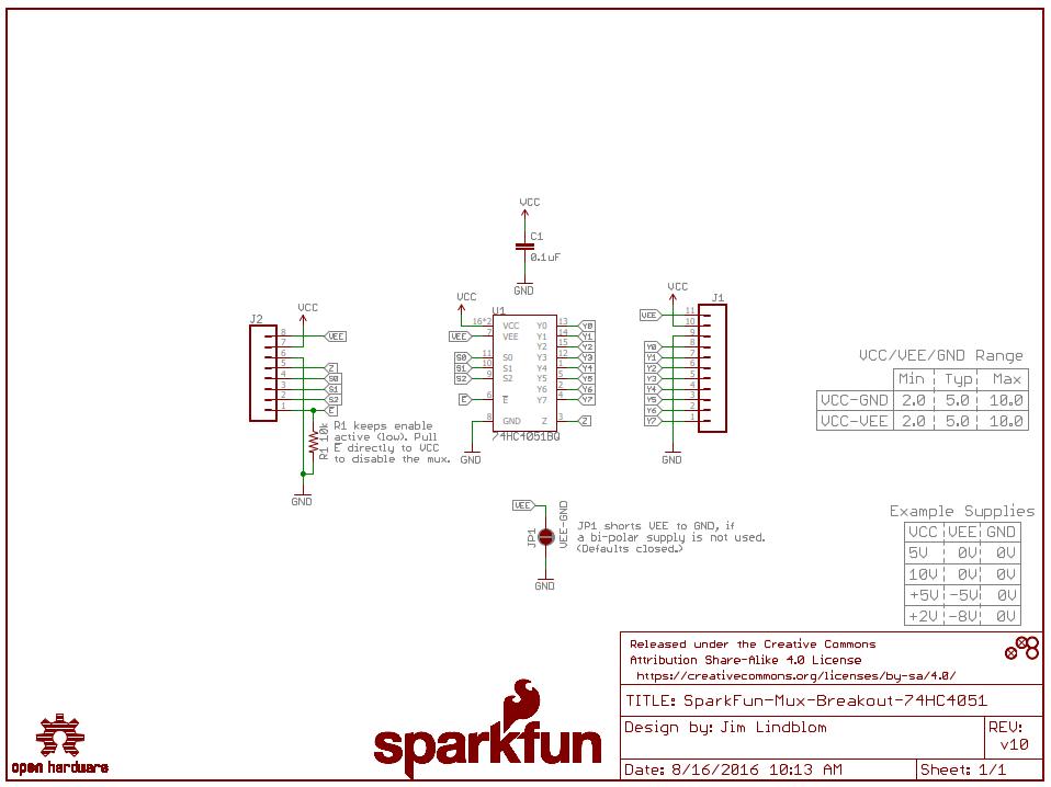 Sparkfun Multiplexer Breakout 74HC4051