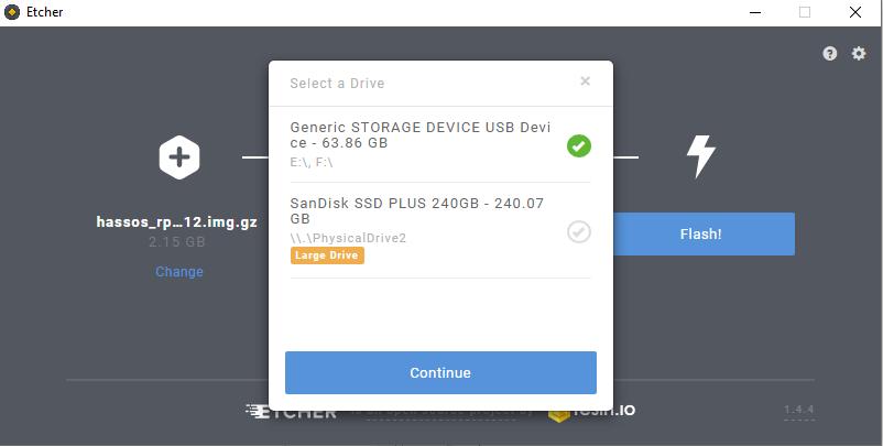 Etcher SD card