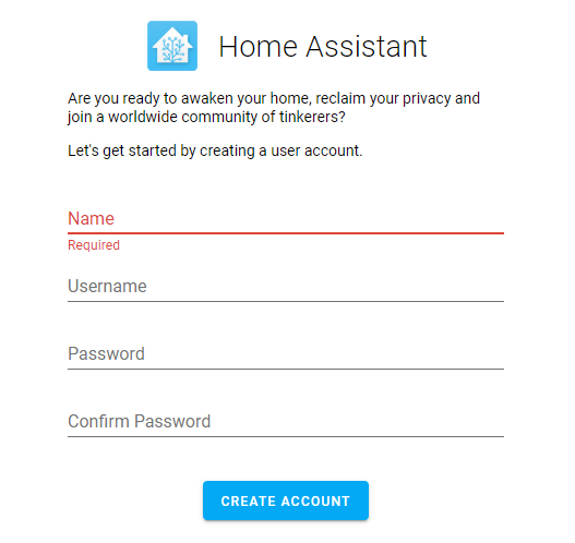 Home Assistant signup