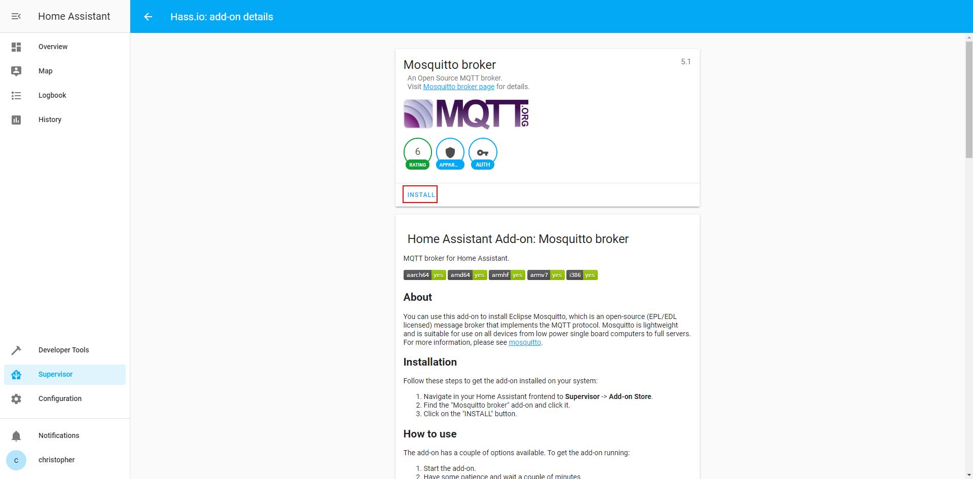 Mosquitto MQTT installation