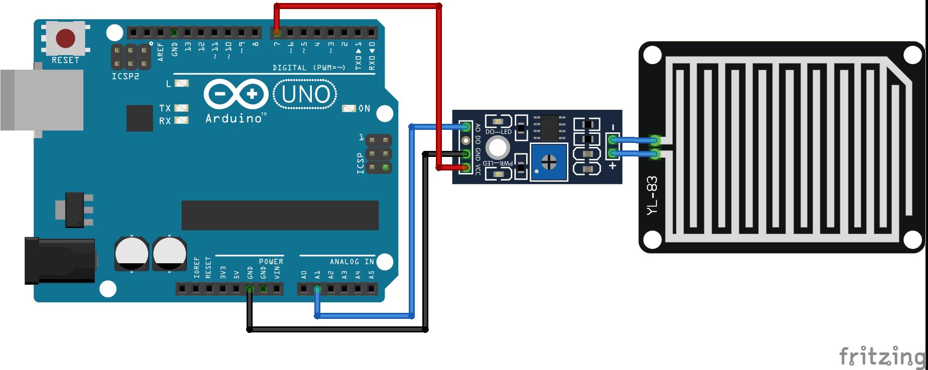 Rain Sensor Arduino Increase Lifetime_Steckplatine