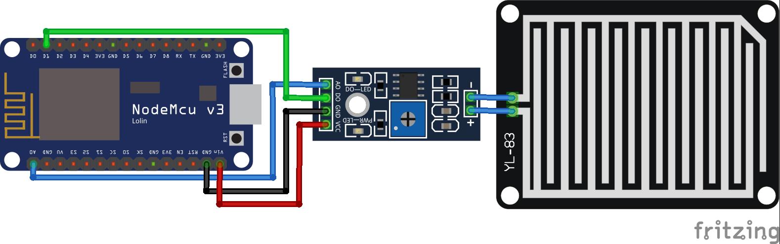 Rain Sensor NodeMCU_Steckplatine