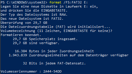 SD Card Format PowerShell