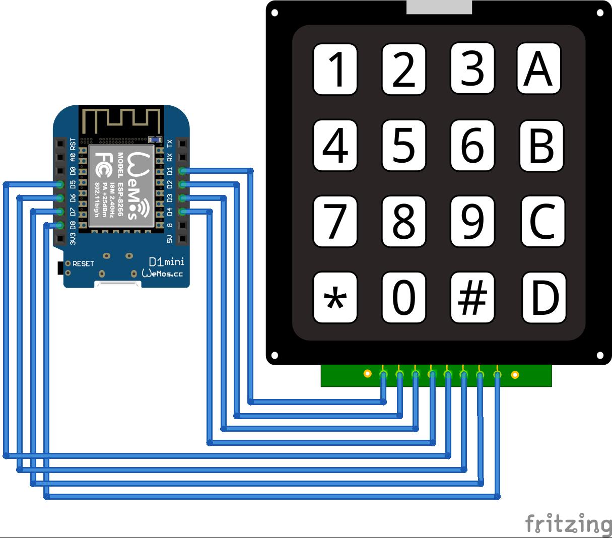Keypad ESP8266 WeMos D1 Mini