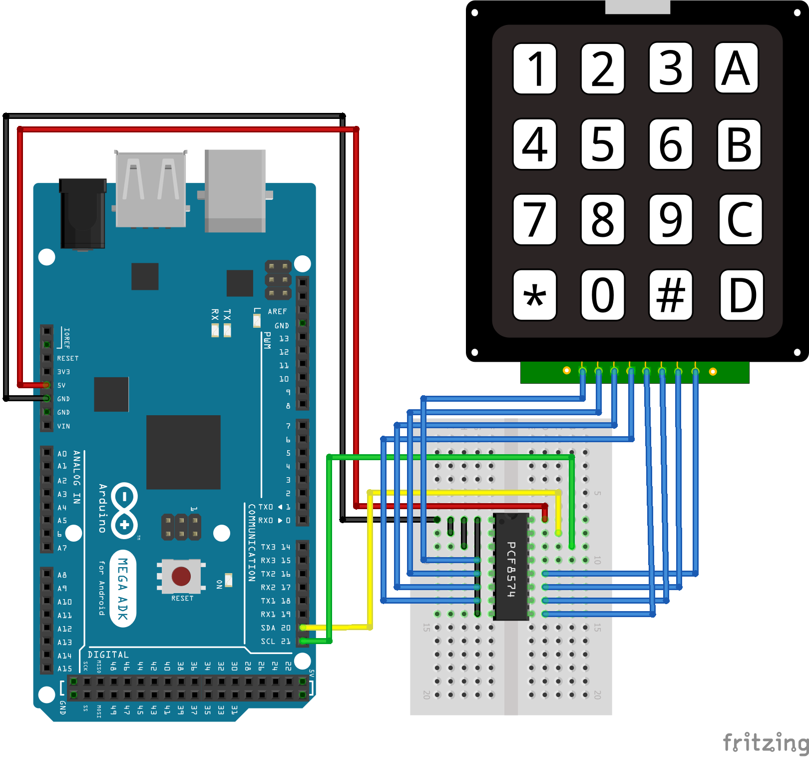 I2C Multiplexer Keypad Arduino Mega