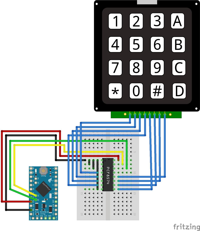 I2C Multiplexer Keypad Arduino Pro Mini