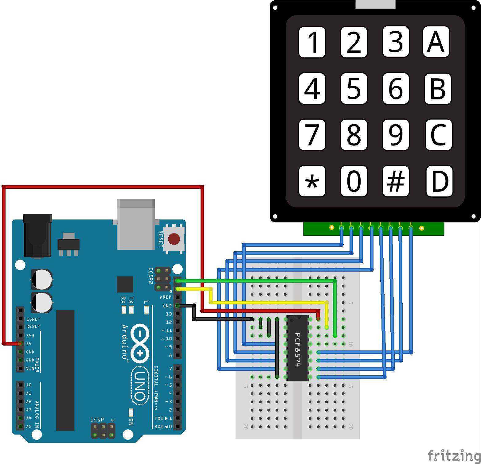 I2C Multiplexer Keypad Arduino Uno