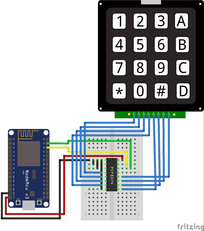 I2C Multiplexer Keypad ESP8266 NodeMCU