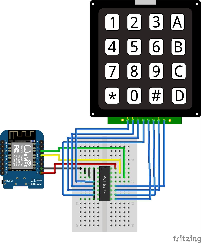 I2C Multiplexer Keypad ESP8266 WeMos D1 Mini