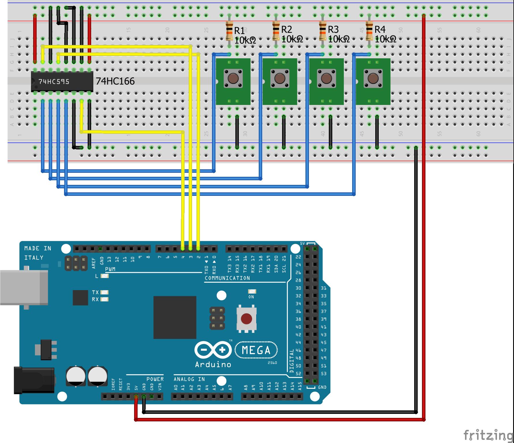 Shift Register PISO Pull Up Arduino Mega