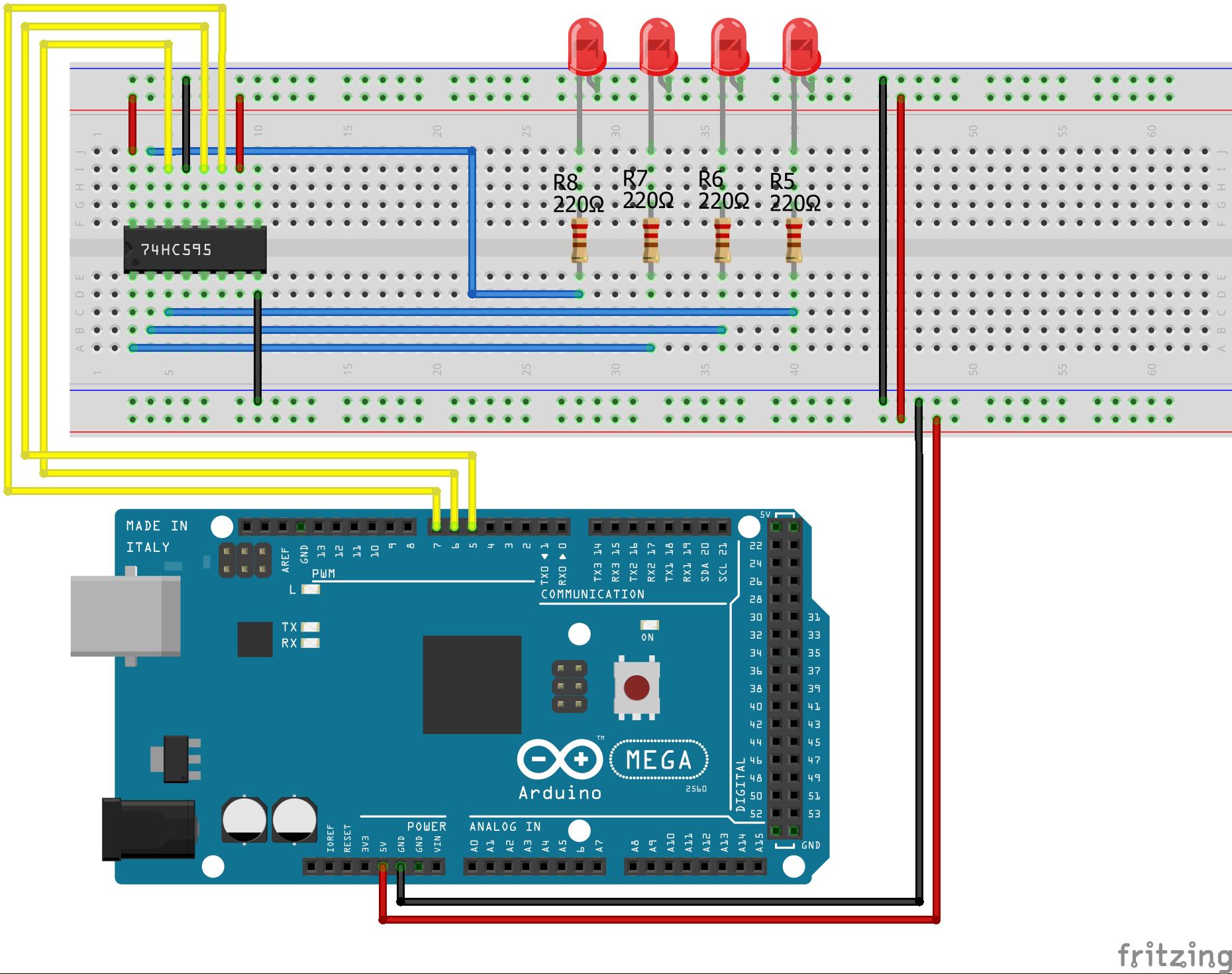 Shift Register SIPO Arduino Mega
