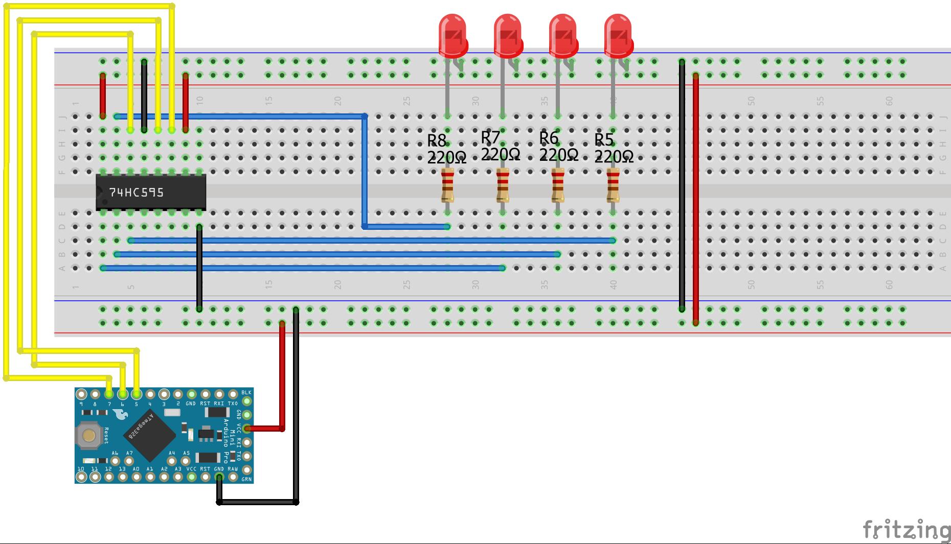 Shift Register SIPO Arduino Pro Mini