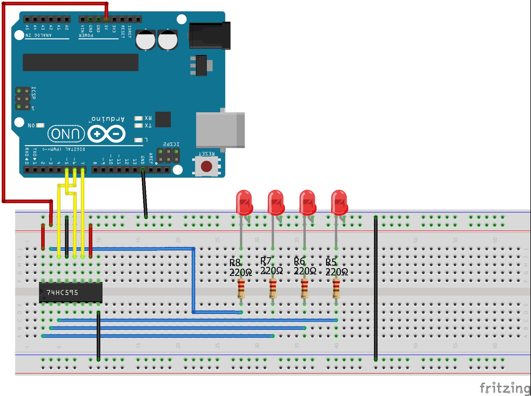 Shift Register SIPO Arduino Uno