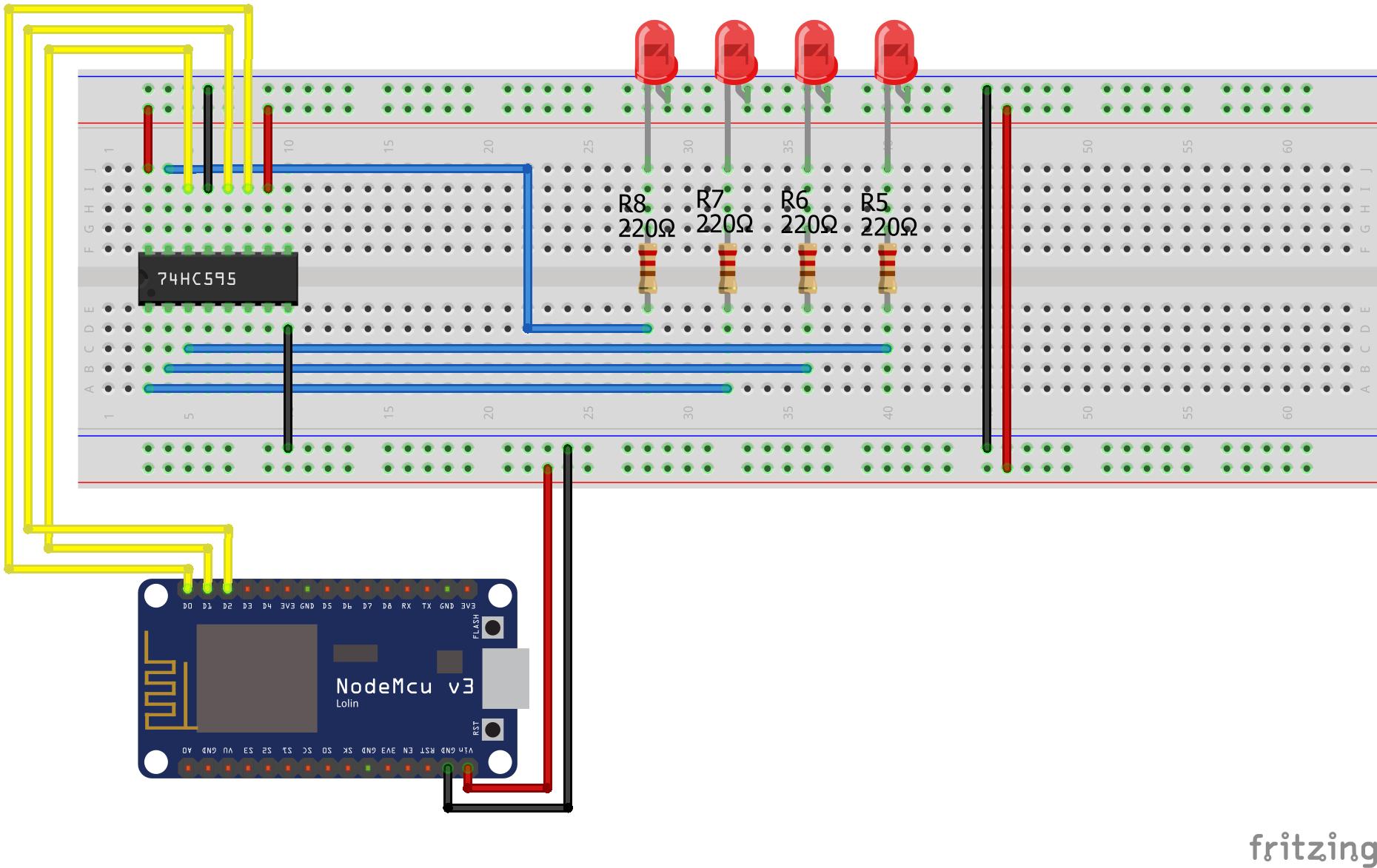 Shift Register SIPO ESP8266 NodeMCU