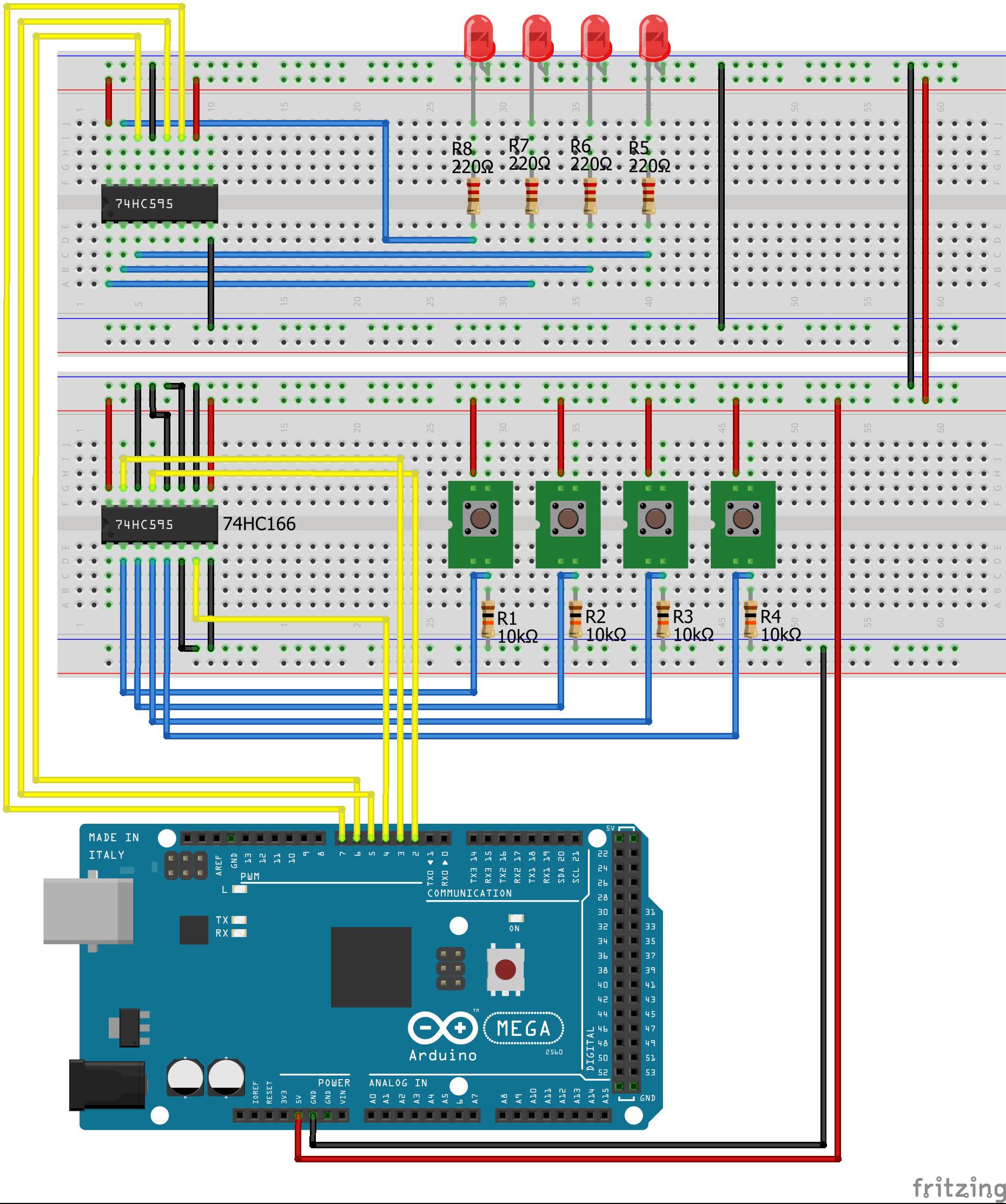 Shift Register SIPO PISO PullDown Arduino Mega