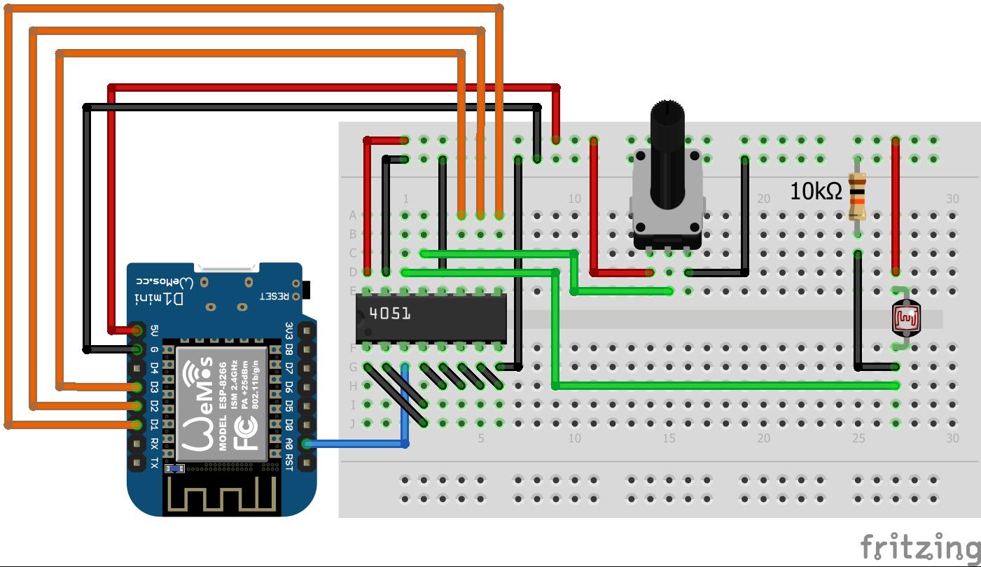 WeMos D1 Mini Analog Multiplexer