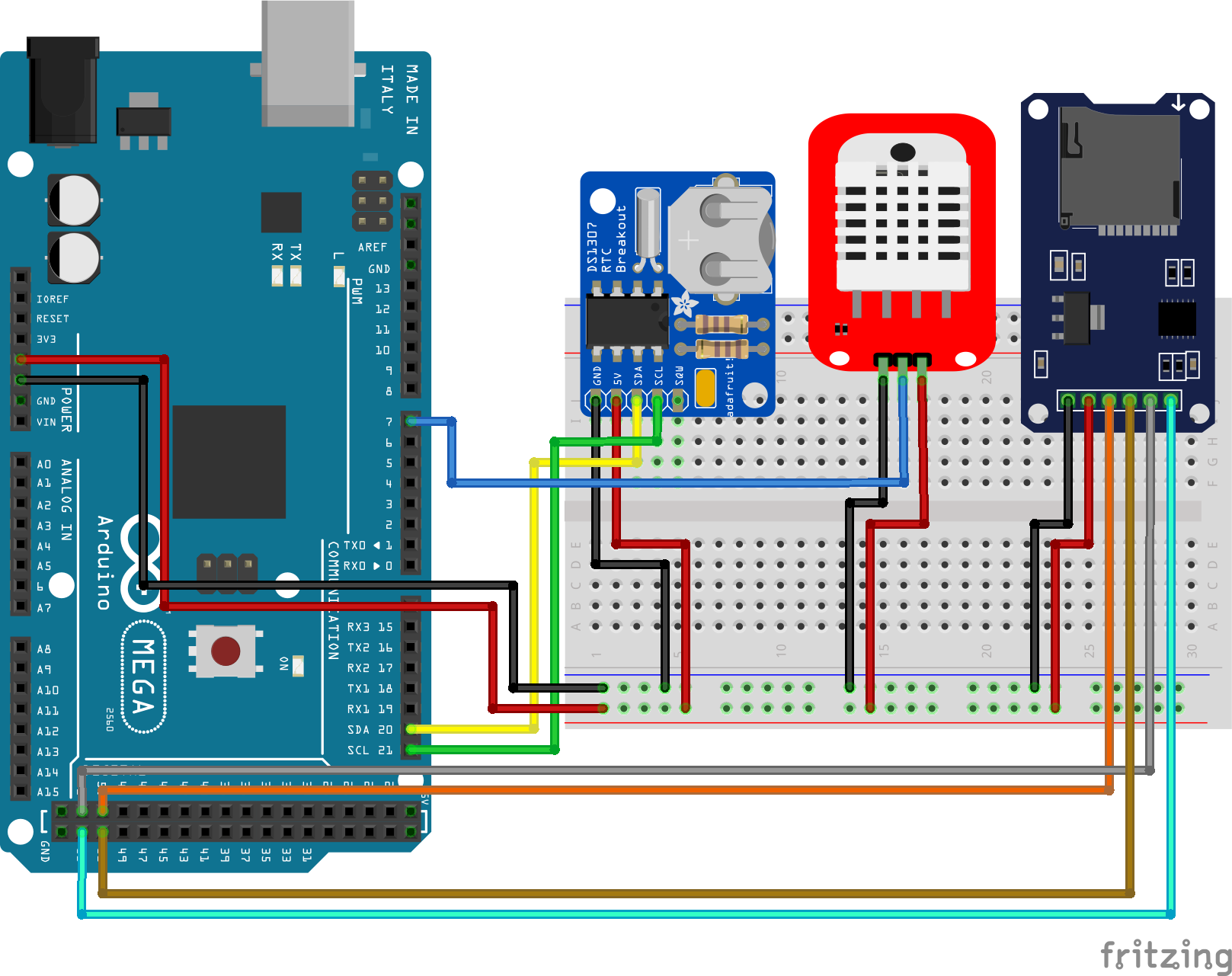 Temperaturelogger RTC Arduino Mega