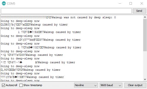 ESP32 Deep Sleep Serial Monitor