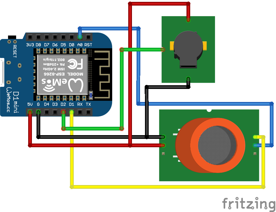 MQ2 Gas Sensor ESP8266 WeMos D1 Mini