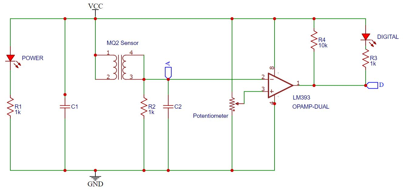 MQ2 Gas Sensor Module Schematic