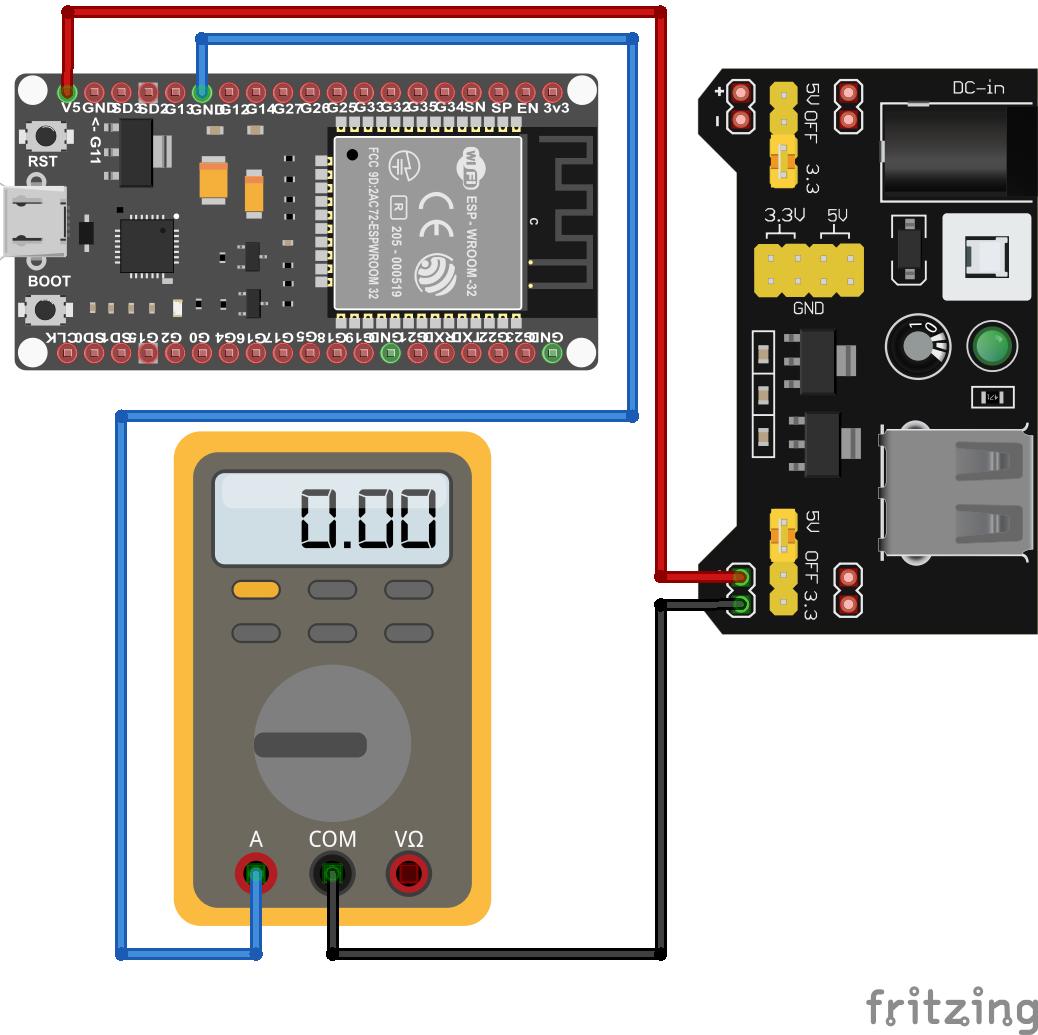 ESP32 Reduce Power Consumption Wiring