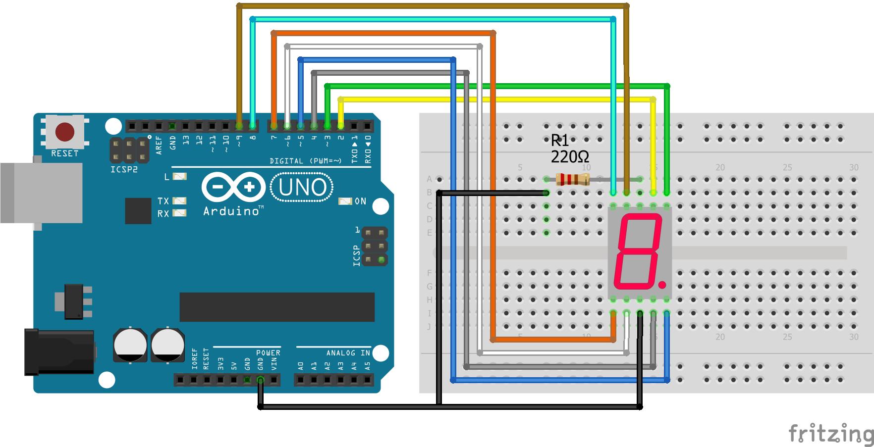 7 Segment LED Display Arduino Uno