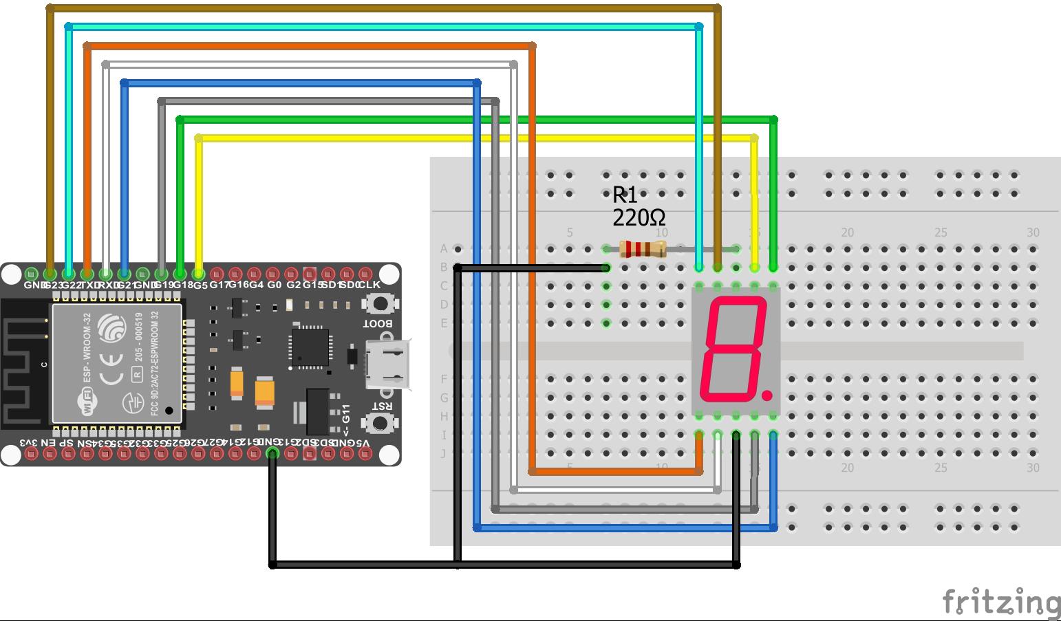 7 Segment LED Display ESP32 NodeMCU