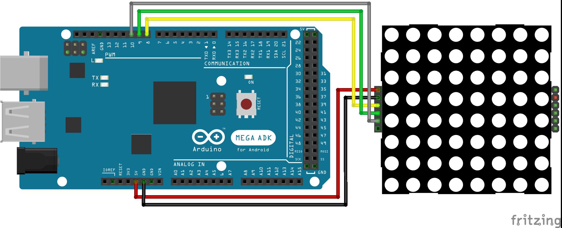8x8 Dot Display Arduino Mega