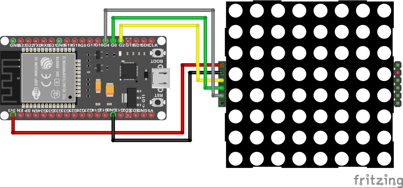 8x8 Dot Display ESP32 NodeMCU